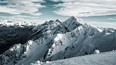 Winter landscape, top of mountains