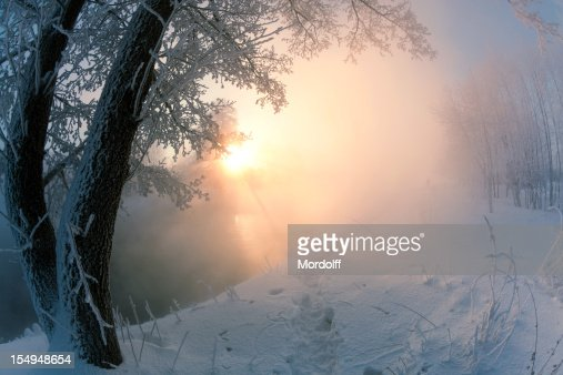 Winter landscape with foggy river in sunny morning