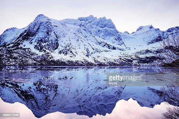 Winter landscape with reflection on Lofoten  near Svolvaer, Norway