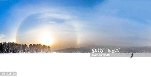 Winter landscape with Sundog