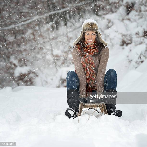 Winter Lifestyle, Beauty on a wooden Sled