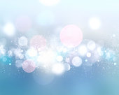 Soft blue winter holiday xmas illustration. Abstract defocused lights.