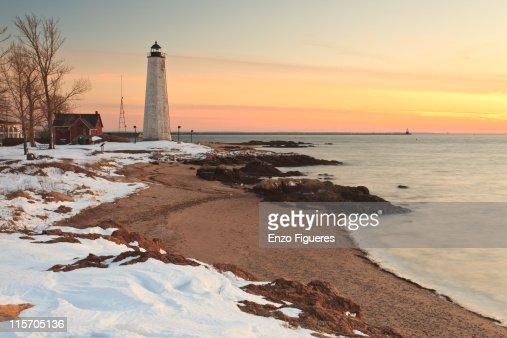 Winter Lighthouse Scene