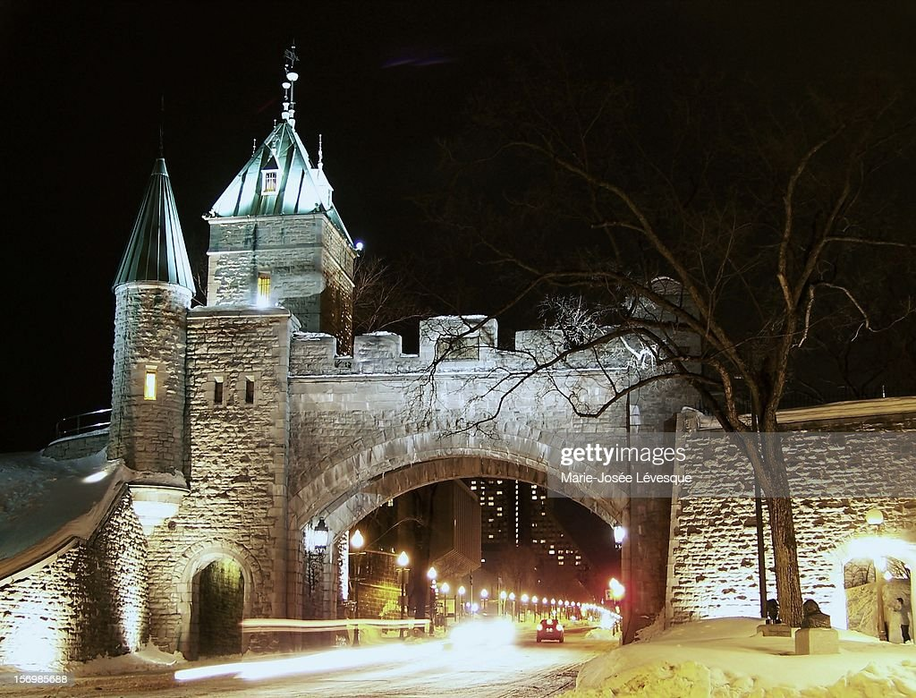 Winter lights of Quebec : Stock Photo