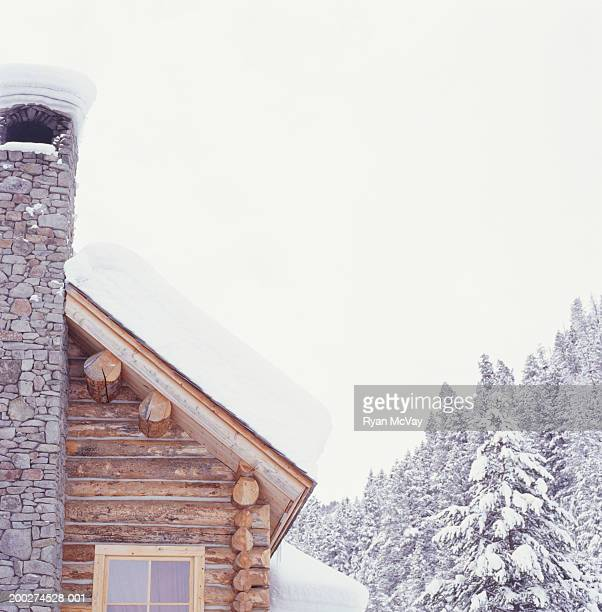 Winter lodge in snowy mountains
