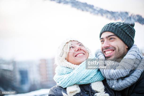 Winter love on a rooftop