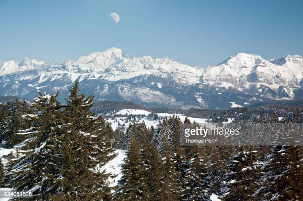 Winter moon over Mont-Blanc massif