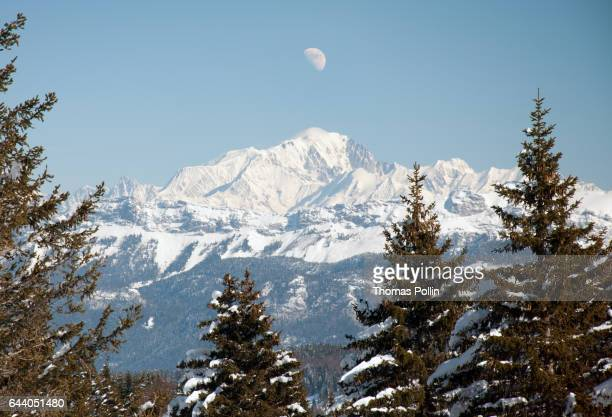 Winter moon over the Mont-Blanc