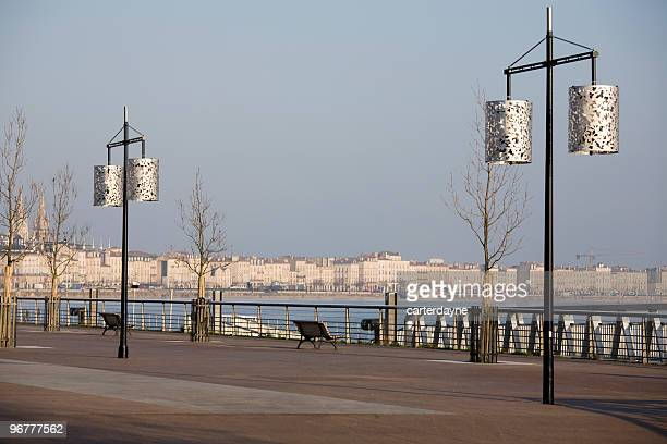 Winter morning sunrise on Bordeaux promenade
