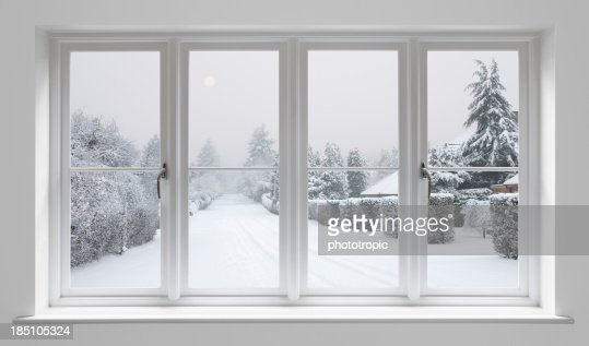 winter morning through white windows
