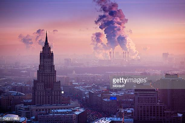 Winter Moscow cityscape at sunset