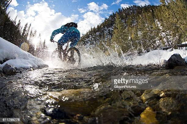 Winter Mountain Bike Creek Crossing