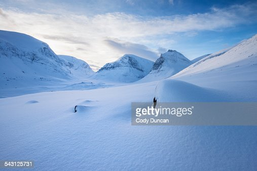 Winter mountain landscape of Ladtjovagge valley viewed from near Kebnekaise Fjallstation, Lapland, Sweden