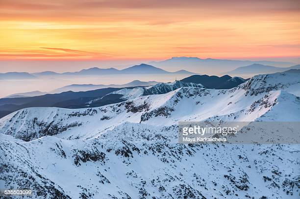 Winter mountains at down, Pirin, Bulgaria