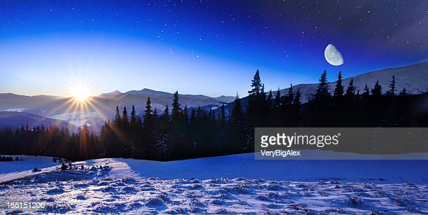 Winter mountains landscape.