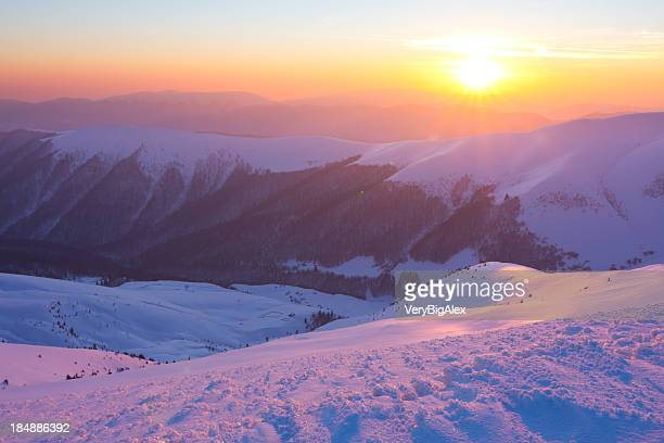 Winter mountains landscape.