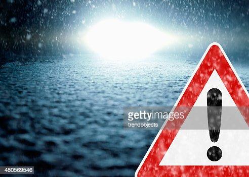 Winter Night Driving - Winter Road - Caution : Stock Photo