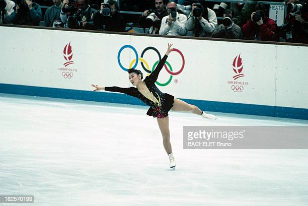 Skating Woman Original Program Aux Jeux Olympiques d'Albertville dans l'épreuve de patinage artistique 'programme original Dames' la japonaise Ito...