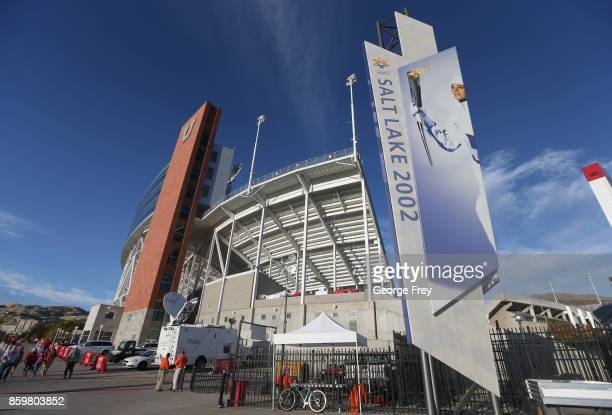 Winter Olympic sign sits outside Rice Eccles Stadium before the start of an college football game against the Utah Utes and Stanford Cardinal on...