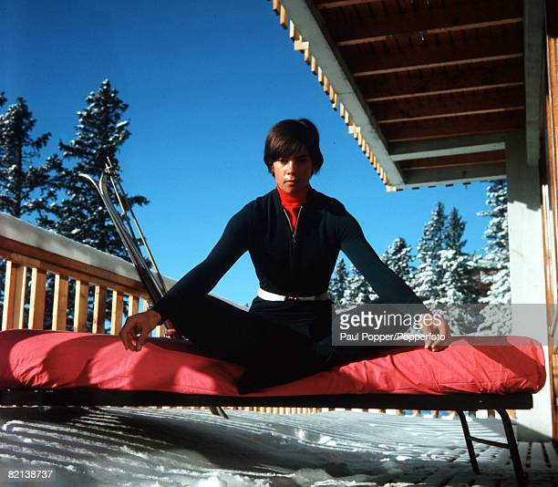 Winter Olympics Grenoble France British skier Divina Galica is pictured doing yoga