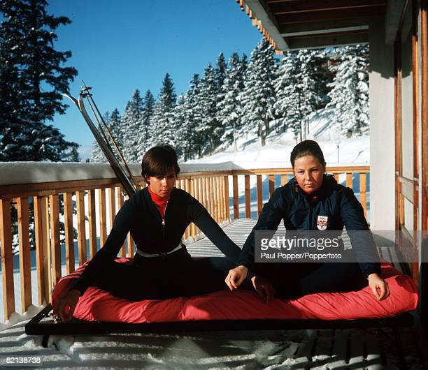 Winter Olympics Grenoble France British skier Divina Galica is pictured doing yoga with a teammate