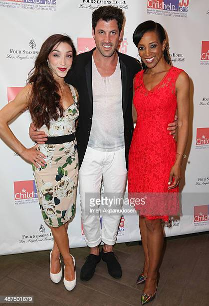 Winter Olympics Ice Dancing gold medalist Meryl Davis professional dancer Maksim Chmerkovskiy and television personality Shaun Robinson attend the...