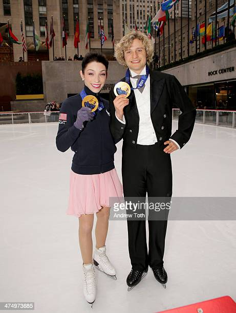 Winter Olympics skating gold medalists Meryl Davis and Charlie White pose for a photo during an Ice Dancing Performance at The Rink at Rockefeller...