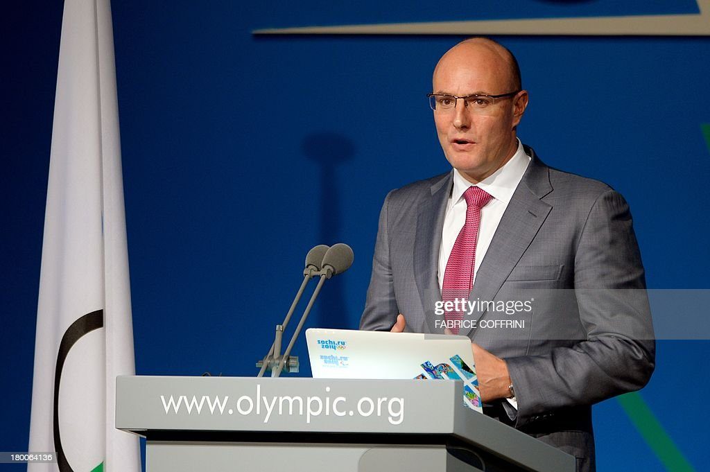 Winter Olympics Sochi 2014 President Dmitry Chernyshenko delivers a speech during the reports of the Coordination Commission during the International Olympic Committe's 125th Session, in Buenos Aires, on September 8, 2013.
