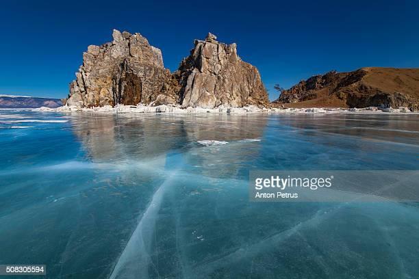 Winter on Lake Baikal. Shamanka rock