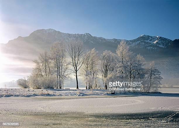 Winter on Lake Kochel in front of Herzogstand and Heimgarten, Upper Bavaria, Bavaria, Germany