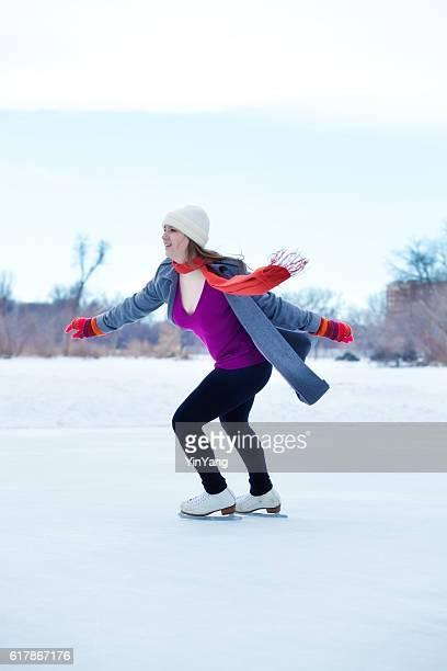 Winter Outdoor Teenage Girl Ice Skater in Red Scarf, Gloves
