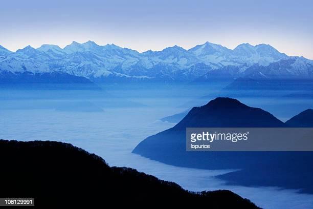 Winter over Italian Alps and Lake