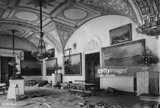 Winter Palace the official residence of the Russian monarchs looted and damaged after the October Revolution Saint Petersburg Russia 8th November 1917