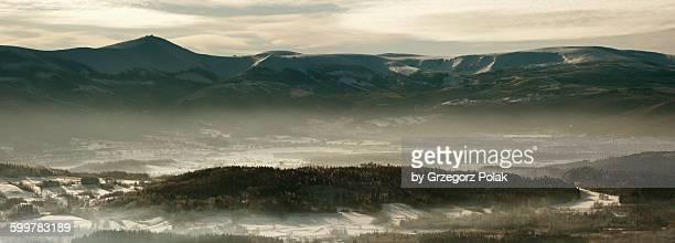 Winter panorama of the Karkonosze Mountains
