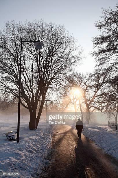Winter park at sunrise, Sodermalm, Stockholm Sweden