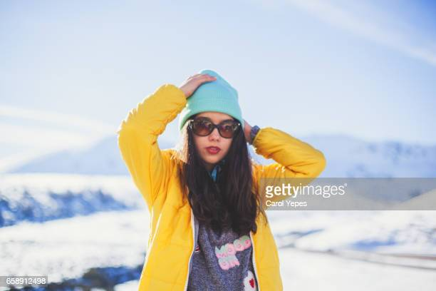 winter portrait of a teenager in snow