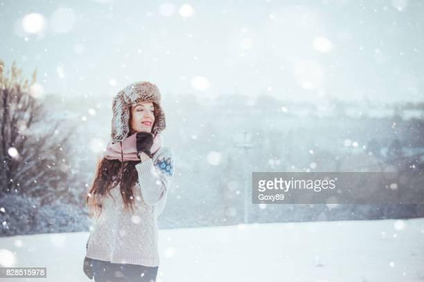 Winter portrait of beautiful woman