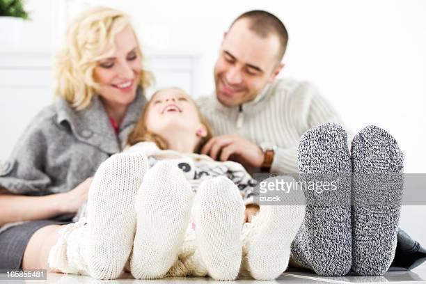 Winter-Porträt von glücklichen Familie