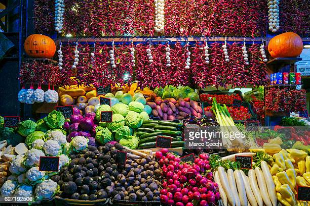A winter prepared vegetable stall is seen in the main market on December 2 2016 in Budapest Hungary The traditional Christmas market and lights will...