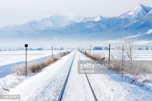winter railroad : Stock Photo