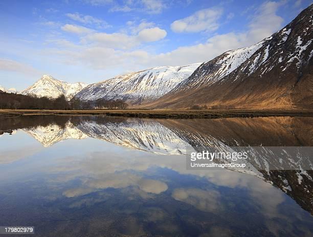 Winter reflections on Loch Etive Lower Glen Etive Argyll Scotland United Kingdom