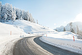 Winter road in snow-covered landscape in Bavaria