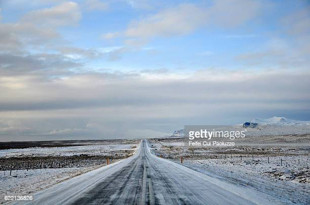Winter road near Stykkishólmur of Iceland