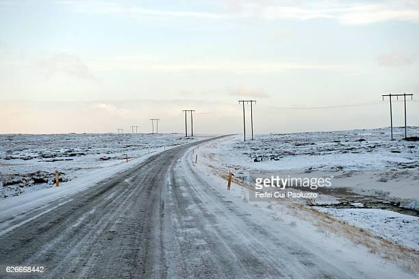 Winter road near Stykkisholmur in the Western Region in Iceland