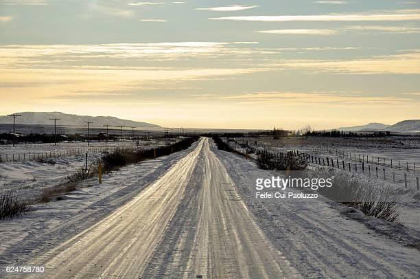 Winter road near Stykkisholmur in western region of Iceland