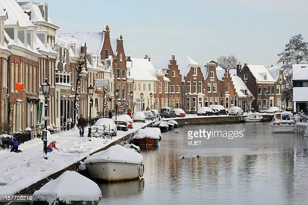 Winter scene in the center of Maarssen