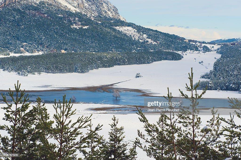 Winter scene in the French Riviera hinterland : Stock Photo