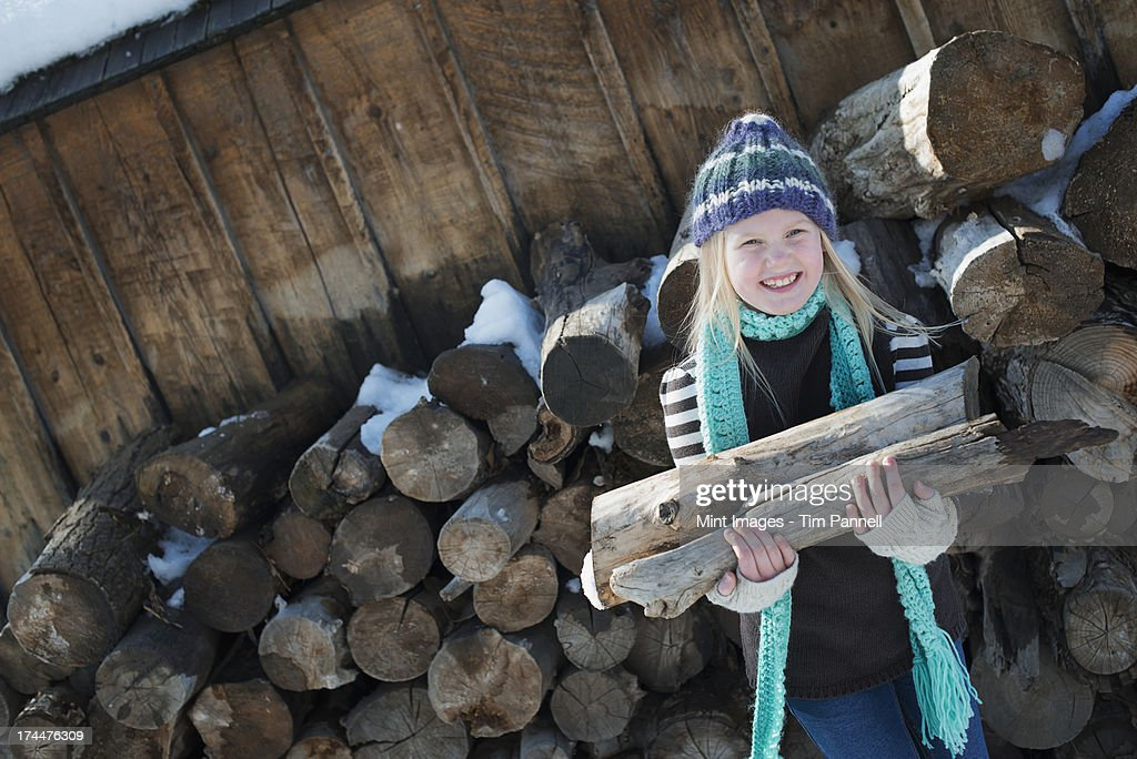 Winter scenery with snow on the ground. A girl collecting firewood from the log pile. : Stock Photo