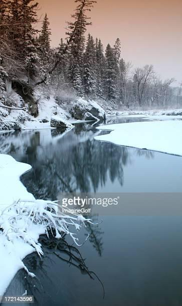 Winter Scenic Icy River Through Urban Park
