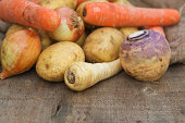 Collection of Autumn and Winter seasonal vegetables for stews and broths